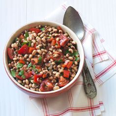 Paula Deen's Black Eyed Pea Salad- replace jalapenos with pepperoncini peppers
