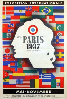 Paris 1937 Exposition Internationale - Vintage French Travel Ad Poster, classic posters, free download, free posters, free printable, graphic design, printables, retro prints, travel, travel posters, vintage, vintage posters, vintage printables, vintage travel posters, french poster, advertising