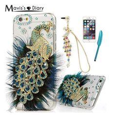 MAVISSDIARY 3D Bling Crystal Peacock Diamond Cover Rhinestone Case For iPhone 6 / 6 Plus / 5 5S SE Clear Hard Coque Capa Funda