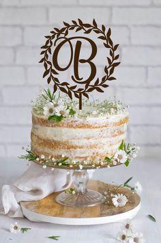 Wedding Cake Topper Wreath  Initial  Wedding Cake by BestWeddEver