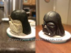 Coolest Darth Vader Helmet Cake... This website is the Pinterest of birthday cake ideas