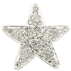 Brilliant round-cut clear Swarovski crystals adorn this fun star-shaped brooch. This jewelry is crafted of silvertone base metal with an antiqued finish and closes with a classic pin closure.