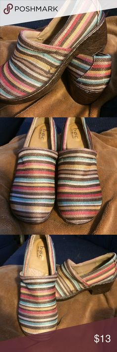 B.O.C. Brown Stripe Nadiyya Clog Gently used clogs.                                                   Brown striped multi-color.                                        Size 9.5 M 2'' heel with 1'' platform Textile upper Man-made sole b.o.c. Shoes Mules & Clogs