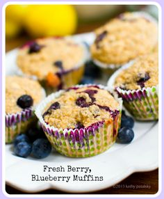 Fresh Blueberry Muffins. Ginger. Lemon. Almond. Flour-Free!