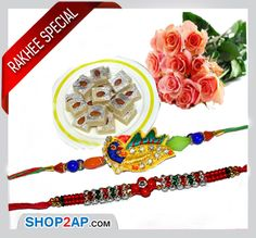 Rakhi is the festival of symbolized love between brother and sister. Every occasion in our country starts with sweets. On this auspicious occasion send your siblings a Rakhi Combos Online Andhra Pradesh and Telangana . Send bunch of charming Peach roses with kalakand sweets and rakhis for their joy through Shop2ap.com and rakhi which mean of promising you of your protection.