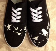 Handpainted Vans Sneakers Birds Perched on a Tree and in Flight on Etsy, $82.89 CAD canvas shoes handpainted cute, custom birds vans, toms, keds