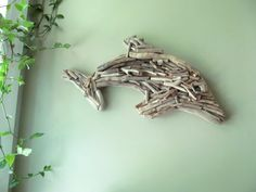 Driftwood  Dolphin Wall Mosaic Sculpture, Driftwood Wall Hanging Art, Driftwood Decor, Beach Home Decor, Coastal Decor, Hanging Porpise