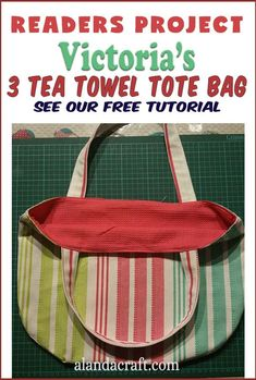 Our Readers Project is this cute 3 tea towel tote bag by Victoria. She has used a striped tea towel and a contrasting plain tea towel to great effect. You can make your own 3 tea towel tote bag using our free tutorial. Diy And Crafts Sewing, Diy Sewing Projects, Sewing Projects For Beginners, Diy Crafts, Quilting Tutorials, Sewing Tutorials, Sewing Patterns, Couch Bag, Origami Bag