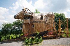 Wooden horse room in Belgium.