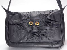 Black Leather Large Messenger Purse With Face by pippenwycks