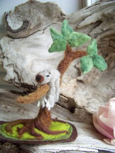 Needle Felted Sleepy Sloth in Tree Scene by peachesproducts, $32.00