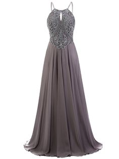 Grey Floor Length Chiffon A-Line Prom Dress Featuring Beaded Embellished Halter Neck Bodice with Spaghetti Straps and Open Back