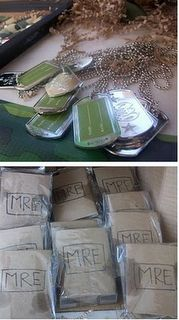 This is where I got the idea of dog tags & MREs :-) Just going to dress it up a bit since the boys are older.