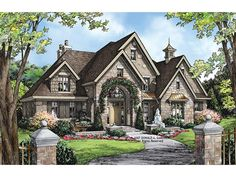 European House Plan with 3484 Square Feet and 4 Bedrooms from Dream Home Source | House Plan Code DHSW075860. Really pretty house number eight