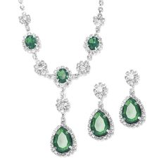 #emerald #green #wedding Mariell Necklace & Earrings Set - Style 3185S