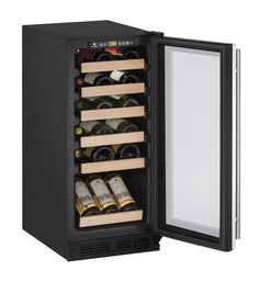 """U-Line 1000 Series 15"""" Wine Captain® Model (1215WC) holds up to 24 wine bottles (750 ml). Temperature range: 38°F - 65°F. Wine racks accommodate a variety of bottle shapes and sizes, while the fourth and fifth racks allow for larger diameter wine and champagne bottles."""