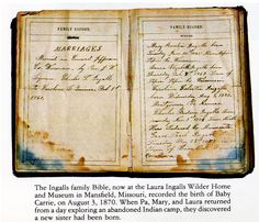 The family Bible of Charles and Caroline Ingalls, parents of Laura Ingalls Wilder, records their marriage in Jefferson County Wisconsin. My Beilke ancestors settled in Jefferson County about Laura Ingalls Wilder, Wisconsin, Wilder Book, Ingalls Family, Pioneer Life, Jefferson County, Interesting History, Love Book, Historical Photos