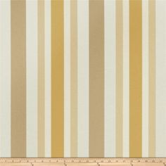 Jaclyn Smith 02621 Bank Stripe Blend Cashew from @fabricdotcom  This cotton/poly blend fabric is medium weight and perfect for window treatments (draperies, valances, curtains, and swags), toss pillows, upholstery and more. Colors include yellow, cashew, tan and ivory. This fabric has 35,000 double rubs.