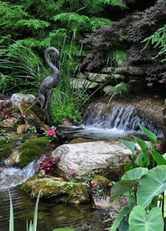 Why You Should Invest In Simple Water Features For Your Home Garden – Pool Landscape Ideas Backyard Water Feature, Ponds Backyard, Garden Pool, Backyard Waterfalls, Lush Garden, Shade Garden, Backyard Patio, Backyard Ideas, Indoor Water Features