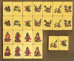 AP Games Mah Jong set with 22 Flower tiles, from large 158 tile set, no #s.