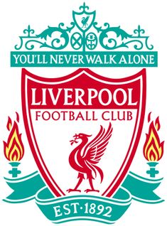 "The words ""Liverpool Football Club"" are in the centre of a pennant, with flames either side. The words ""You'll Never Walk Alone"" adorn the top of the emblem in a green design, ""EST 1892"" is at the bottom"