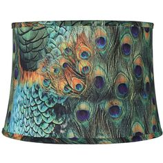 Peacock Print Drum Lamp Shade 14x16x11 (Spider) ($35) ❤ liked on Polyvore featuring home, lighting, green, drum lamp shade, drum light shade, drum shade lighting, drum lamp-shade and peacock lights