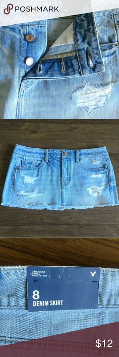 """NTW! AEO MINI Jean Skirt Button up fly. 10 1/2"""" in length. Size 8. 17"""" across waist. Hips 19 1/2"""" American Eagle Outfitters Skirts Mini"""