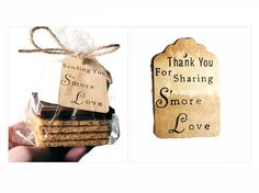 Thank You for Sharing Wedding Favors. Sending You S'more Love. Personalized custom stamping on the back of tags with names and wedding date.  Select Amount 100 300 S'MORES Wedding Favor KIT Hand