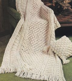 Instant Download PDF - Aran Afghan Knitting Pattern - Bulky Quick Fisherman Cable Knit Blanket Throw and Matching Pillow