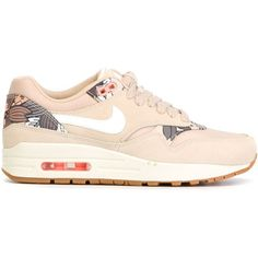 Nike Air Max 1 Sneakers ($138) ❤ liked on Polyvore featuring shoes, sneakers, lace up shoes, lacing sneakers, nike footwear, nike shoes and floral print sneakers