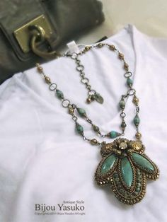 Turquoise Embroidery Necklace