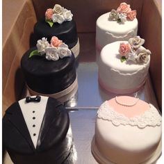 "Bride & Groom Engagement Cakes The bride loved this picture she came across of cupcakes - 1 ""bride"" cupcake, 1 ""groom&. Bride Cupcakes, Wedding Cakes With Cupcakes, Fancy Cakes, Mini Cakes, Fondant Cakes, Cupcake Cakes, Cup Cakes, Beautiful Cakes, Amazing Cakes"