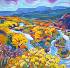 """Tracy Turner New Works Gallery  """"Glorious Rio Chama""""~goache on archival board, 14""""x 14"""" Original art available ~ $950 The Ranch at Taos~ Taos, New Mexico"""
