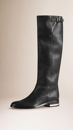 Stivali da equitazione sopra il ginocchio in pelle a grana | Burberry