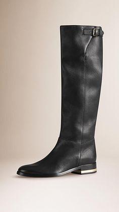 Stivali da equitazione sopra il ginocchio in pelle a grana   Burberry
