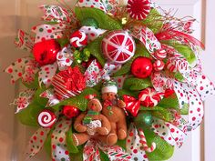 Christmas Deco Mesh Wreath,Candy Canes, Gingerbread Man, Holidays, Wreaths on Etsy, $89.00
