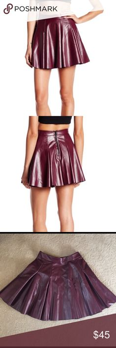 """Necessary Objects Faux Leather Skater Skirt New Without Tags- Wine colored faux leather skater skirt with exposed back zip closure. Waist 25.5"""", Length 16"""". Necessary Objects Skirts Mini"""