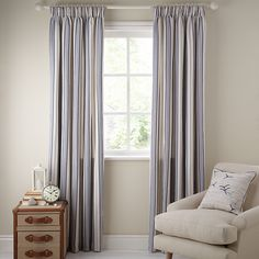 John Lewis Dorset Stripe Lined Pencil Pleat Curtains Lounge Curtains, Pleated Curtains, Wedding Top Table, Pencil Pleat, Double Bedroom, My Dream Home, John Lewis, Window Treatments, House