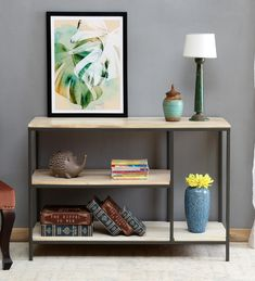 Buy Serene Console Table by Bohemiana Online - Industrial Console Tables - Tables - Furniture - Pepperfry Product Industrial Console Tables, Urban Loft, Indian Homes, Table Height, Solid Wood Furniture, Muted Colors, Wooden Tables, Home Decor Styles, Simple Designs