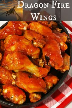 Dragon Fire Chicken Wings - restaurant style spicy wings baked in the oven. Fire Chicken, Cooking Chicken Wings, Chicken Wing Sauces, Chicken Wing Recipes, Chicken Sauce, Grilled Chicken, Spicy Wings, Chicken Wings Spicy, Teriyaki Chicken