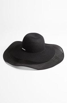 Lauren by Ralph Lauren Straw & Sheer Floppy Hat | Nordstrom
