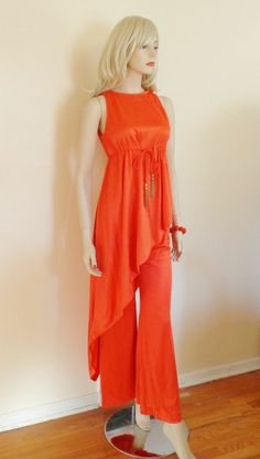 Disco Pants Suit Vintage 1970's Orange 2-Pc Asymmetrical Jumpsuit  $45  http://www.rubylane.com/item/676693-C764/Disco-Pants-Suit-Vintage-1970s