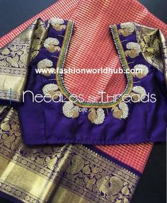 Lovely designer blouse with silk saree Read about . Lovely designer blouse with silk s Peacock Blouse Designs, Best Blouse Designs, Pattu Saree Blouse Designs, Bridal Blouse Designs, Blouse Neck Designs, Hand Work Blouse Design, Stylish Blouse Design, Traditional Blouse Designs, Traditional Sarees