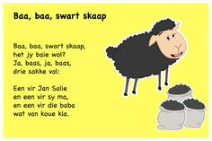 Baa, baa, swart skaap - Kinderrympies in Afrikaans Alfresco Designs, Classroom Layout, Baa Baa, Afrikaans, Child Development, Pre School, School Projects, Classroom Management, Preschool Activities