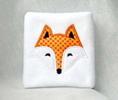 Fox Face Applique Machine Embroidery Design 4x4 by KatieLDesigns