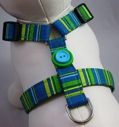 Handmade Adjustable Dog Harness - Teal Stripes by Gatorgrrl Boutique on Etsy