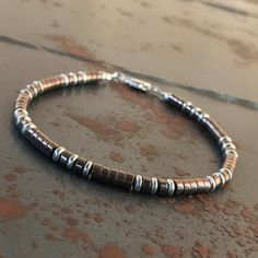 Men's bracelet Hematite bracelet Healing by ArarekojewelryMen