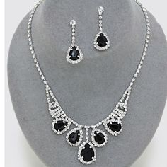 CLASSIC BLACK CLEAR CRYSTAL PROM WEDDING FORMAL NECKLACE JEWELRY SET CHIC TRENDY #Unbranded