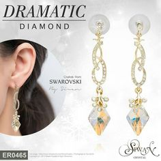 #Dramatic #Diamond ($47) #Rhombus  #Swarovski #crystal size 19 mm. E-mail : nanthwan13@yahoo.com