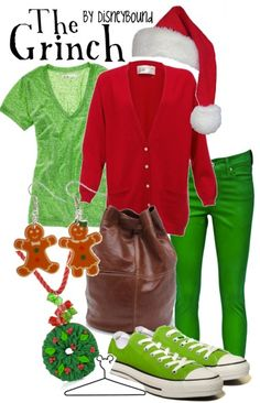 love me some grinch! and i love those gingerbread earrings. : ) From the awesome Disneybound site! Check it! http://disneybound.tumblr.com